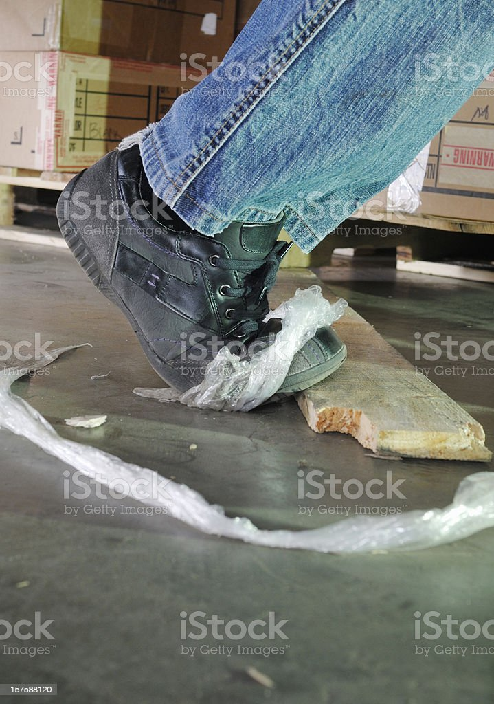 Dangerous trip hazard in a warehouse stock photo