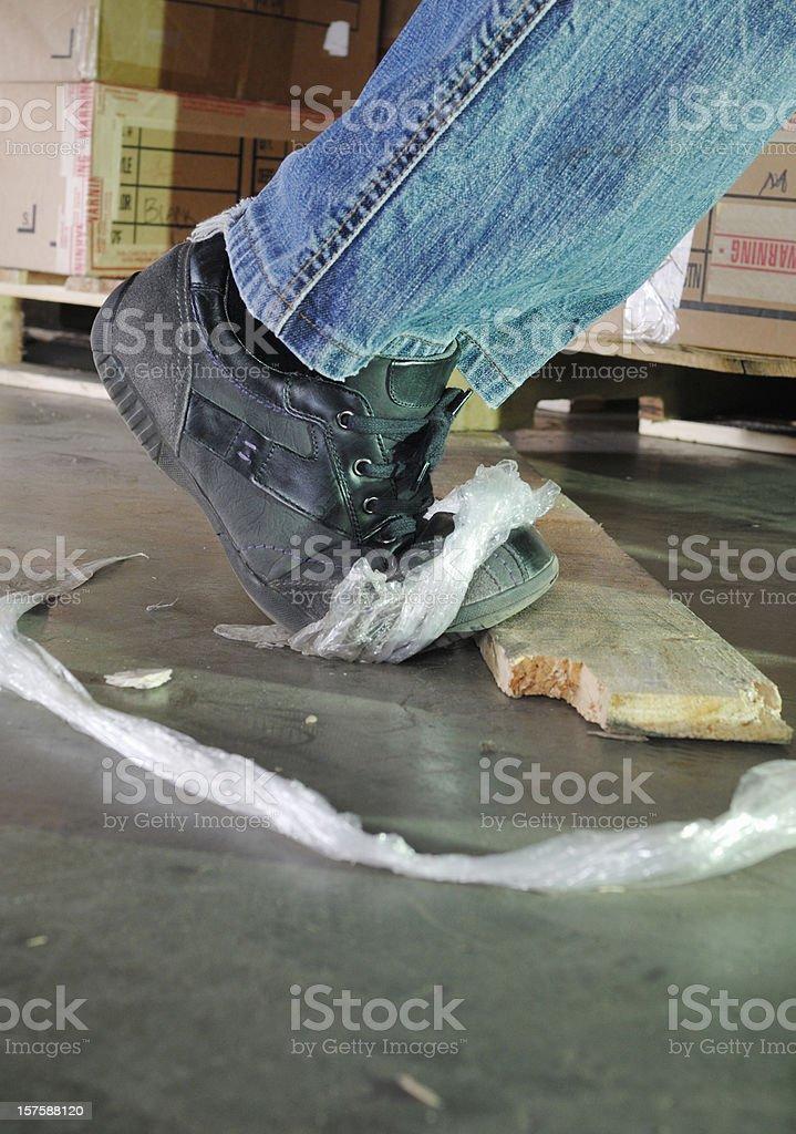 Dangerous trip hazard in a warehouse stock photo