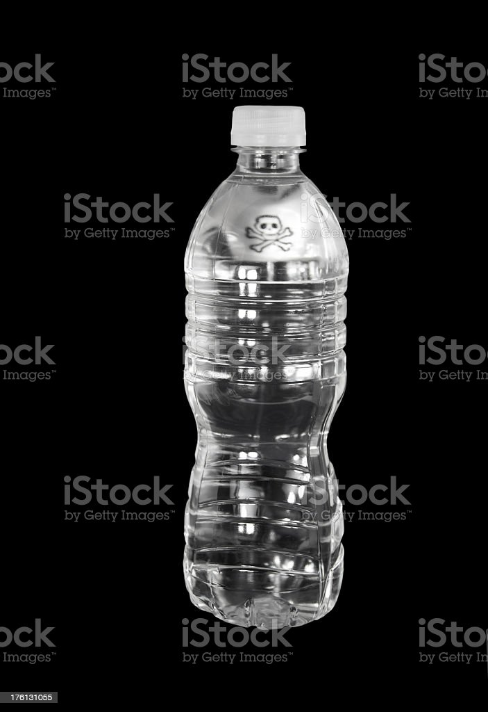 Dangerous Water Bottle with skull stock photo