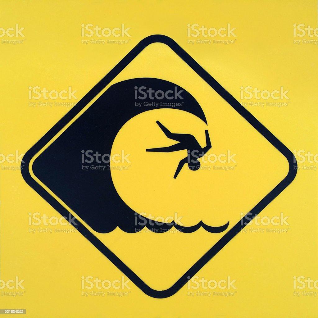 Dangerous Wave Sign stock photo