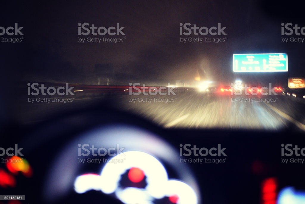 Dangerous winter driving conditions stock photo