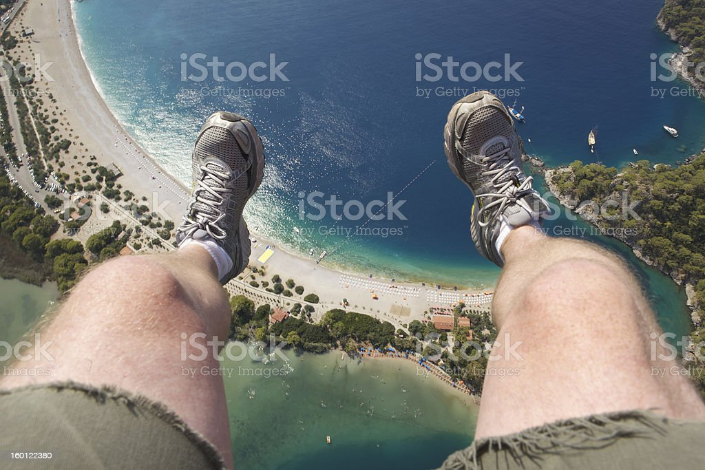 Dangling at 3000 feet from Paraglider stock photo
