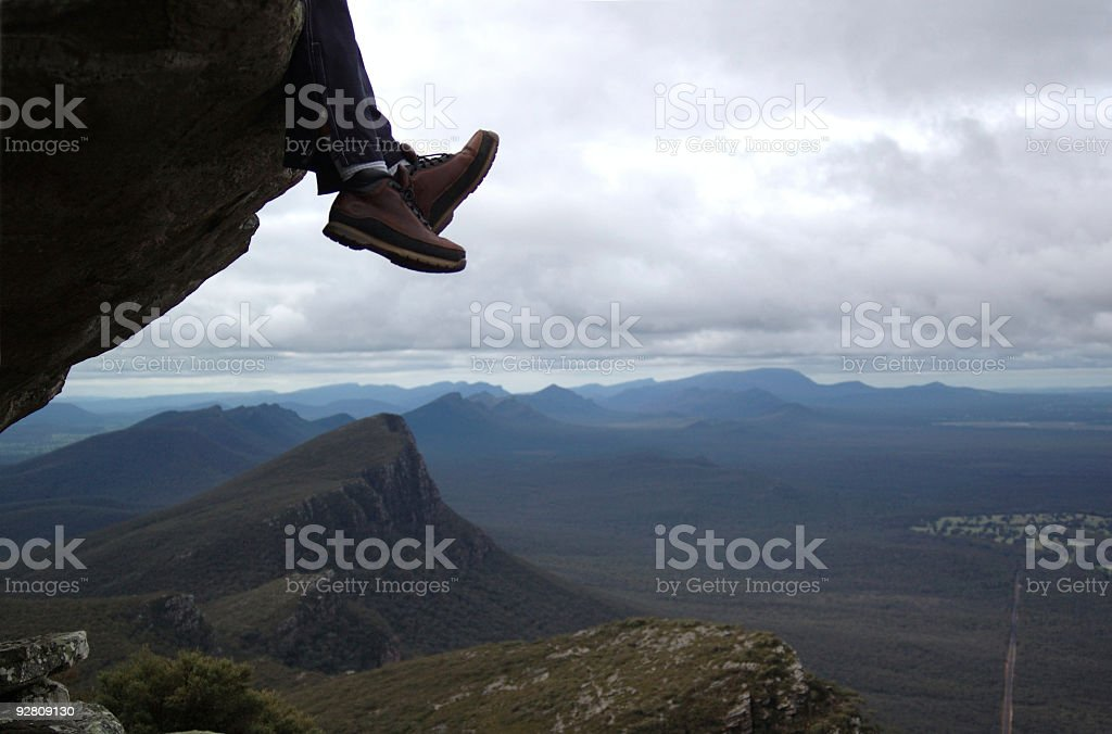 Dangling boots. stock photo