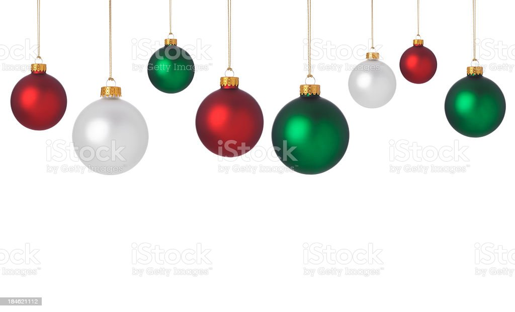 Dangling red, green, and white Christmas ornaments stock photo