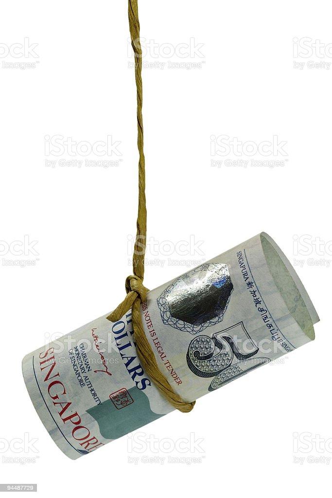 Dangling Singapore dollar stock photo