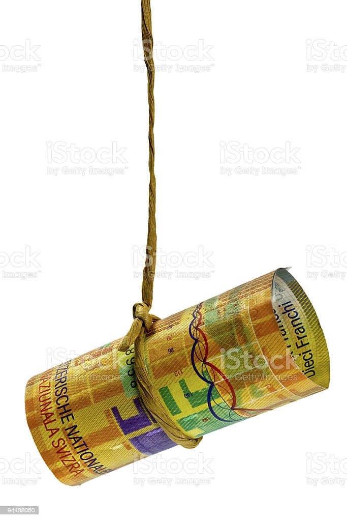 Dangling Swiss Franc royalty-free stock photo
