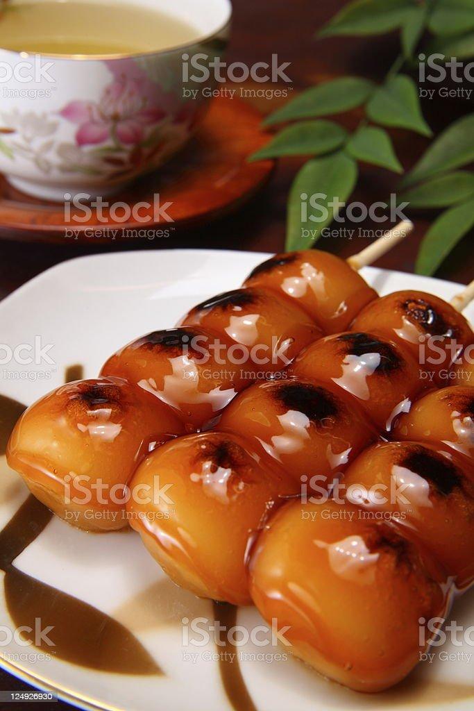 Dango and tea royalty-free stock photo