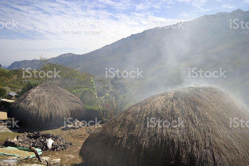 Dani compund in Wamena stock photo