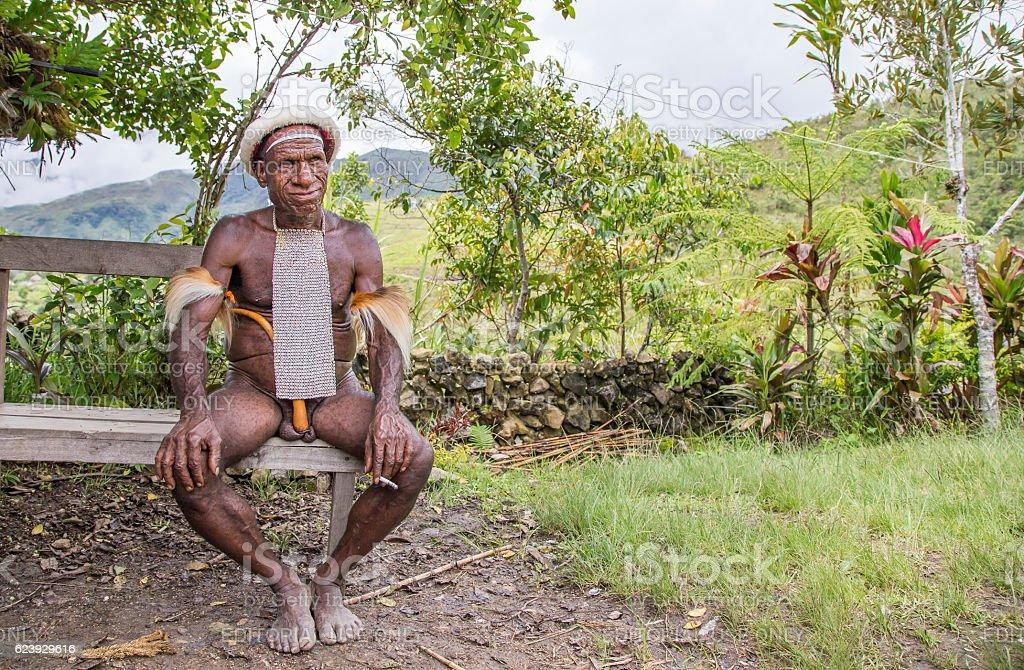 Dani tribe man smoking stock photo