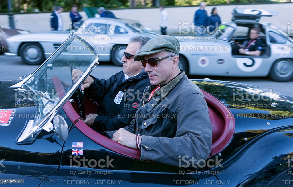 Daniel Day Lewis and Jim Gianopulos at Mille Miglia 2013 royalty-free stock photo