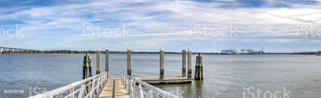Daniel Island Pier Panorama stock photo