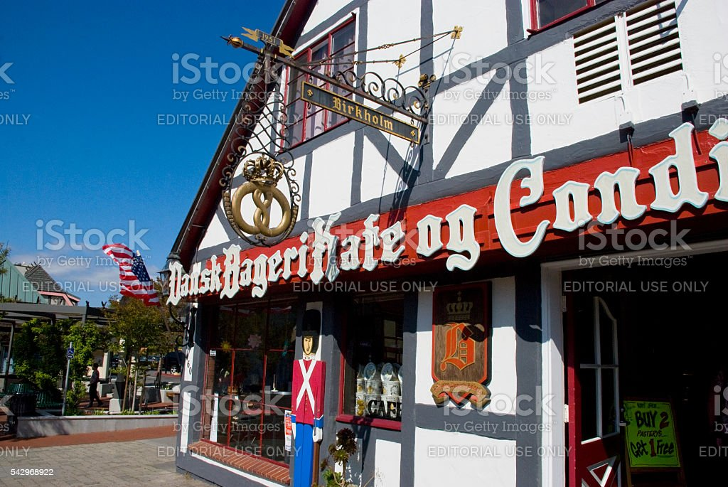 Danish architecture - facade of a Solvang bakery, California stock photo