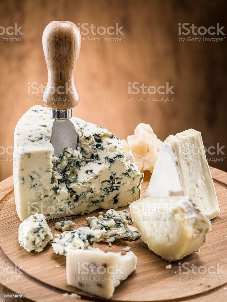 Danish blue cheese. stock photo