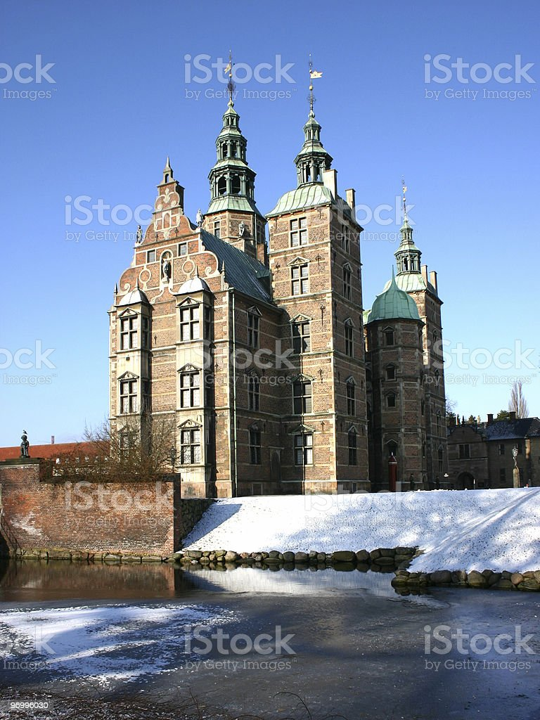 Danish castle in winter royalty-free stock photo