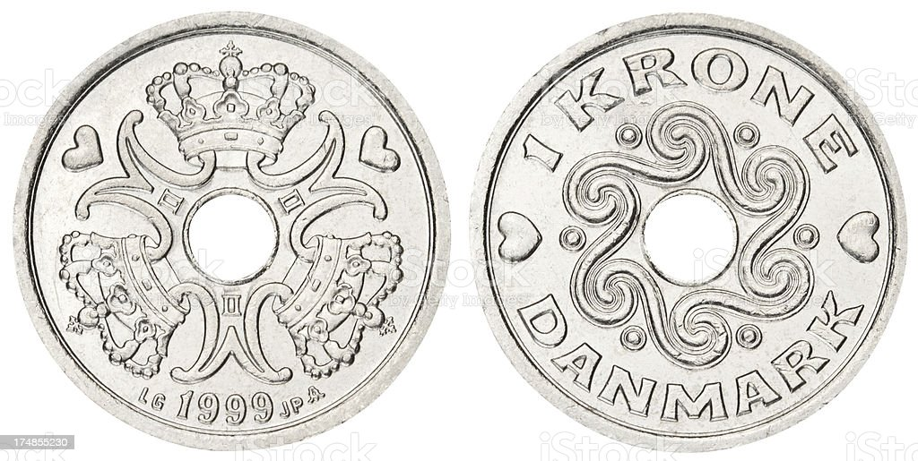 Danish coin on white background royalty-free stock photo