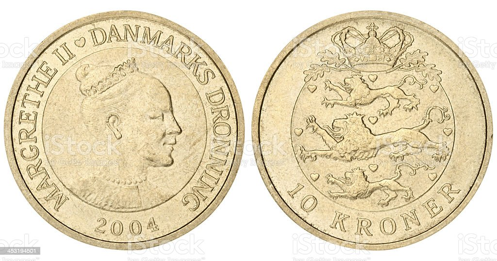 Danish coin on white background stock photo