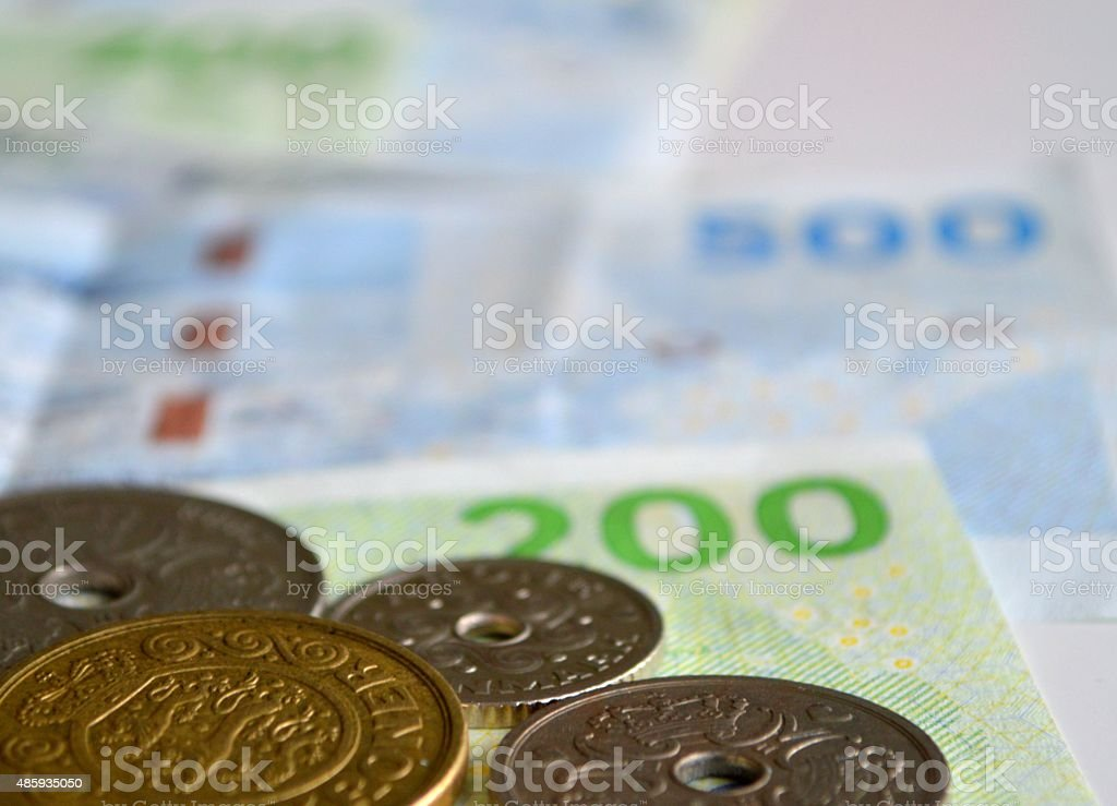 Danish coins and banknotes stock photo