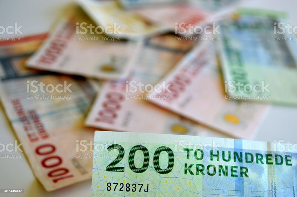 Danish currency background stock photo