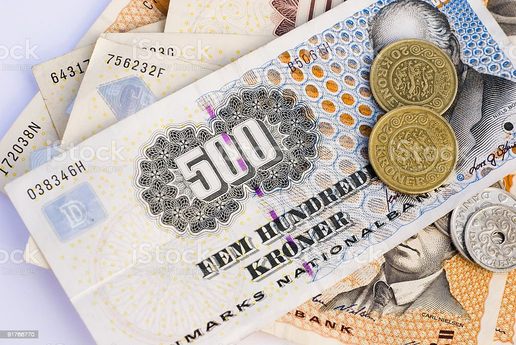 Danish currency  close-up royalty-free stock photo