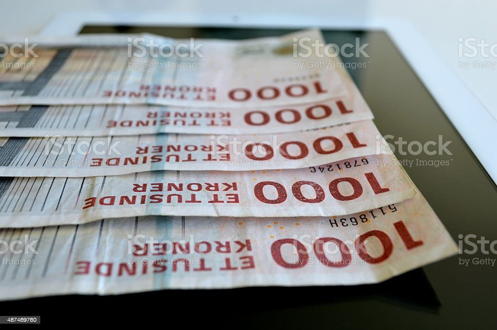 Danish currency on a digital tablet stock photo