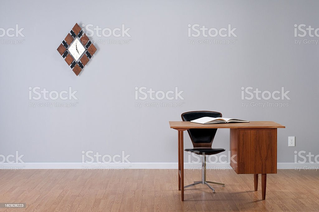 Danish Desk And Clock In Empty Room. royalty-free stock photo