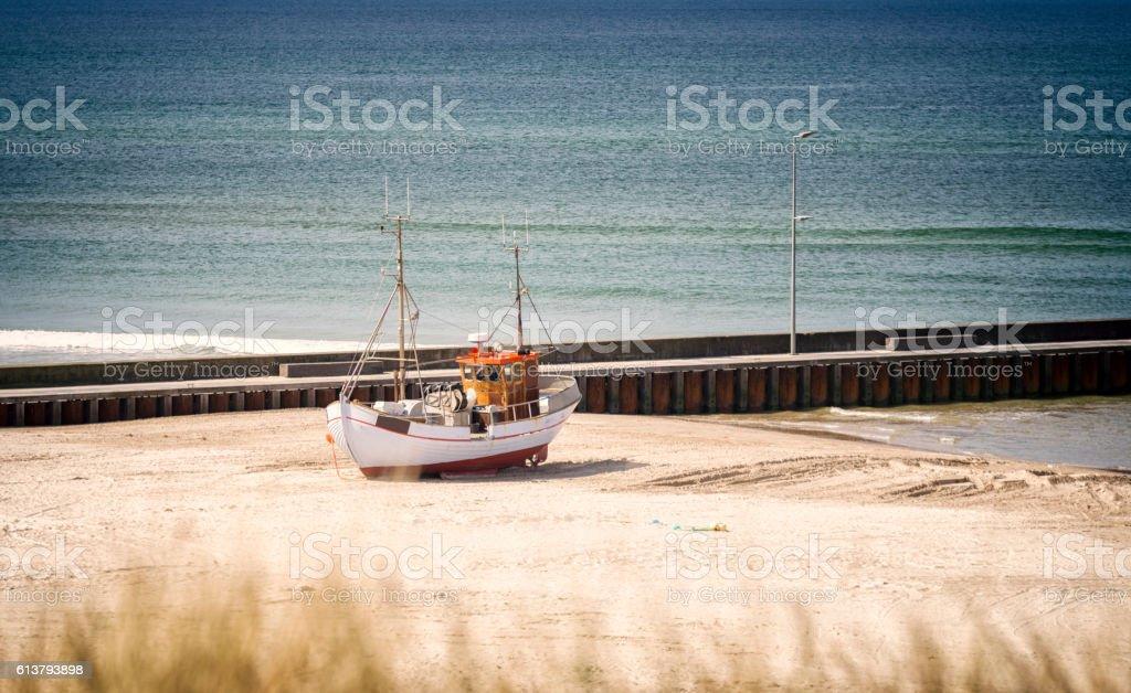 Danish fishing boat on the beach stock photo