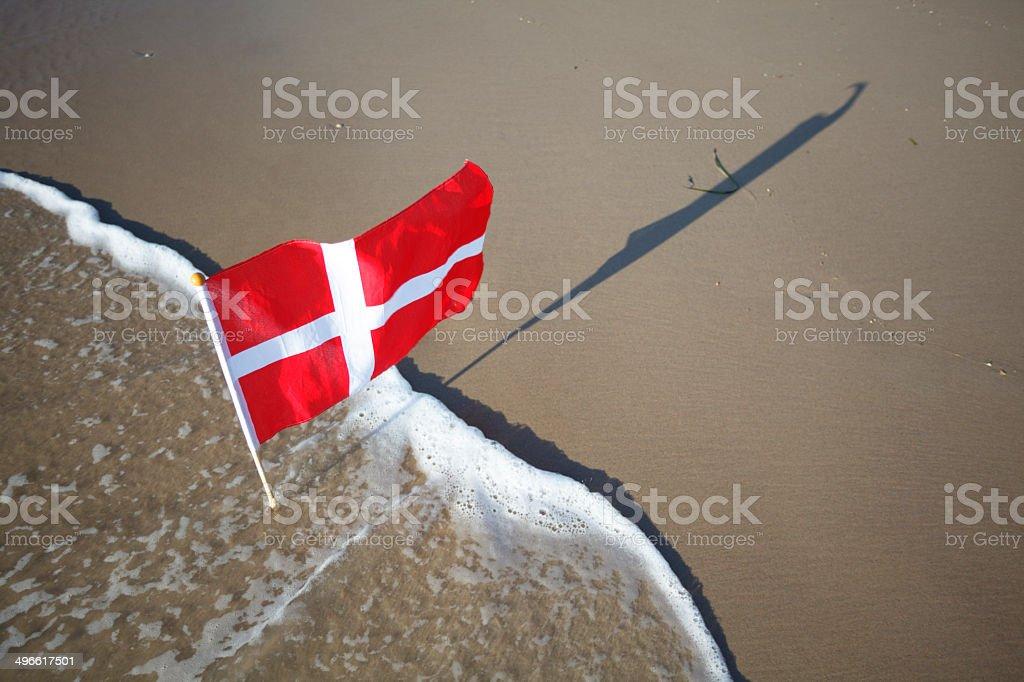 Danish flag at the west coast of Jutland stock photo