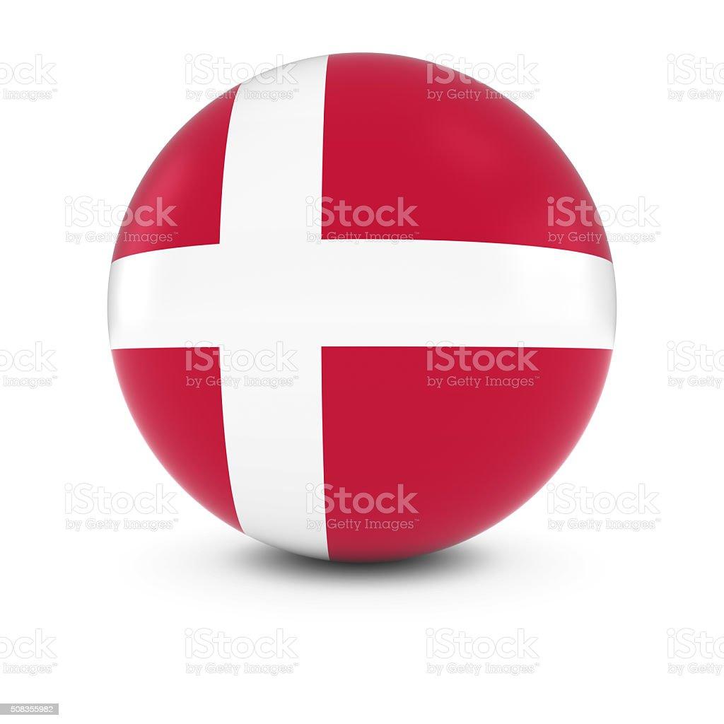 Danish Flag Ball - Flag of Denmark on Isolated Sphere stock photo