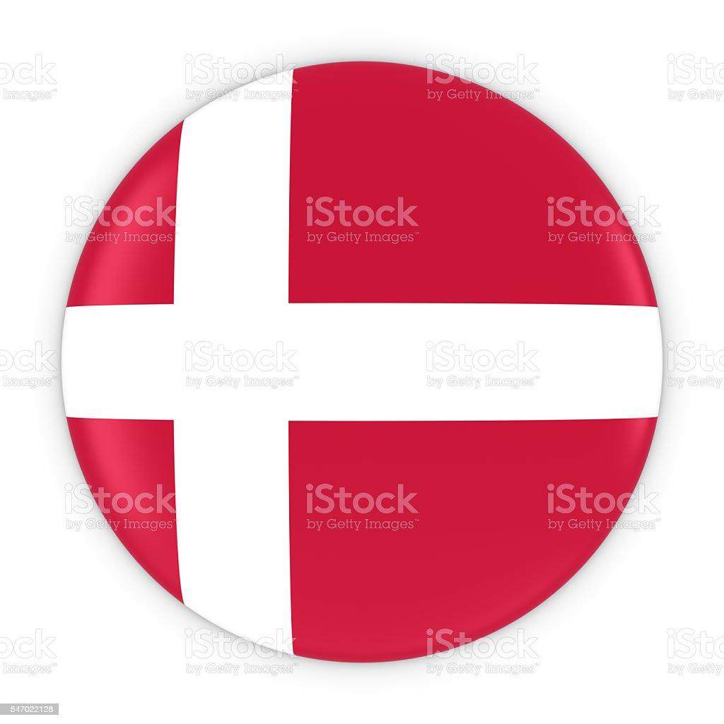 Danish Flag Button - Flag of Denmark Badge 3D Illustration stock photo
