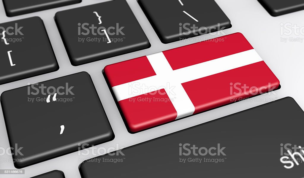 Danish Flag Computer Keyboard stock photo