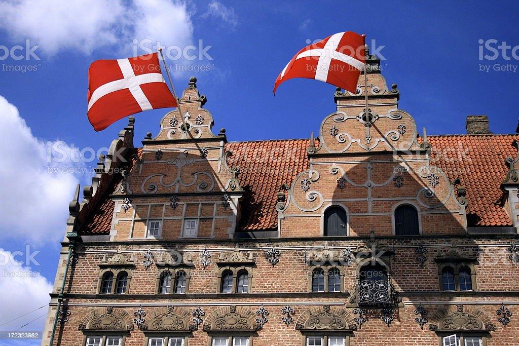Danish flags in Jens Bangs Stenhus, Aalborg royalty-free stock photo