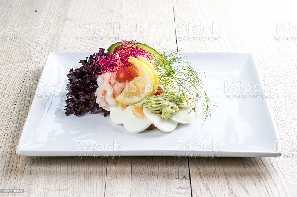 Danish open sandwich - Dansk smørrebrød på rugbrød stock photo