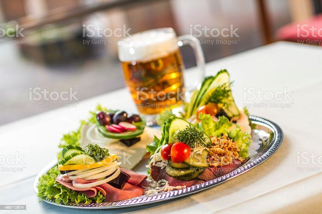 Danish open sandwich on ryebread - Smørrebrød stock photo