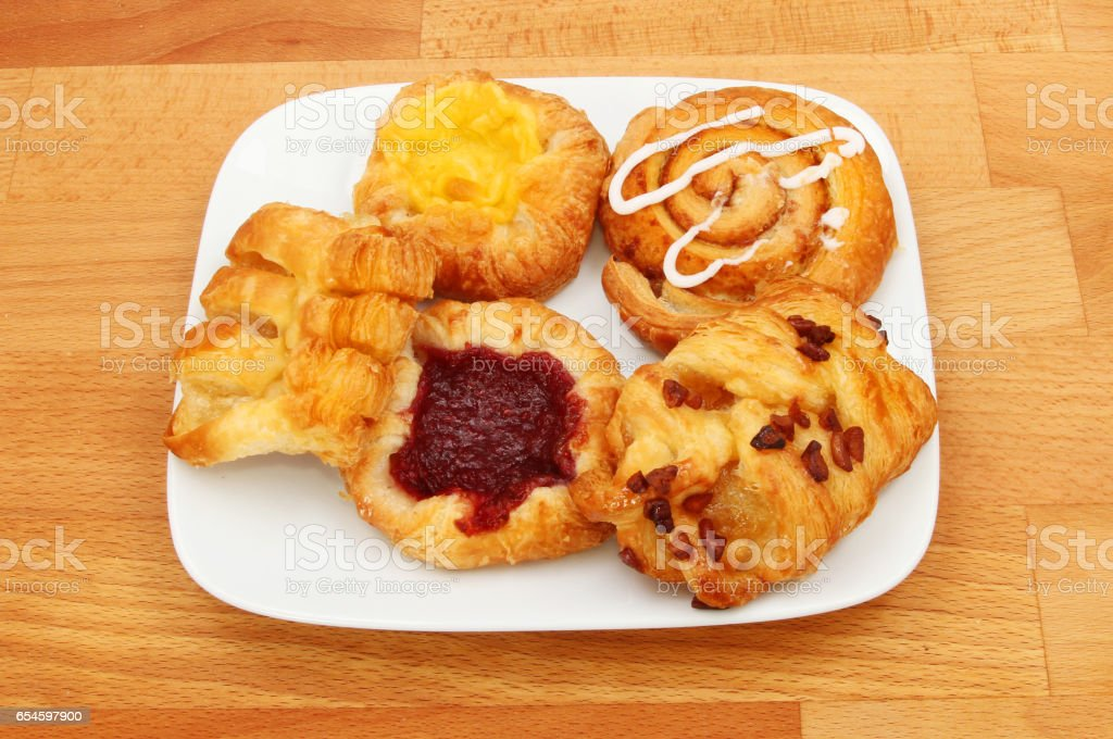 Danish pastries on a plate stock photo