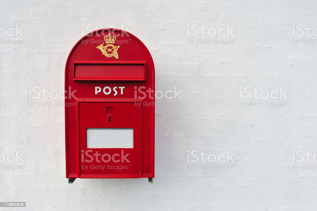 Danish red mailbox stock photo