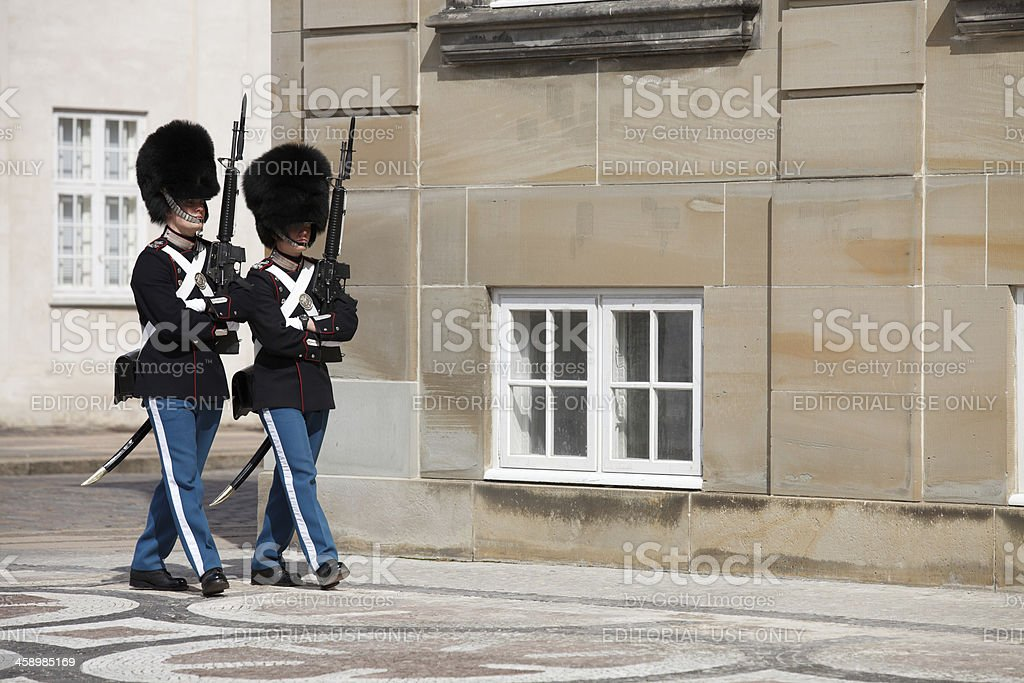 Danish Royal Guard in front of the Amalienborg royalty-free stock photo
