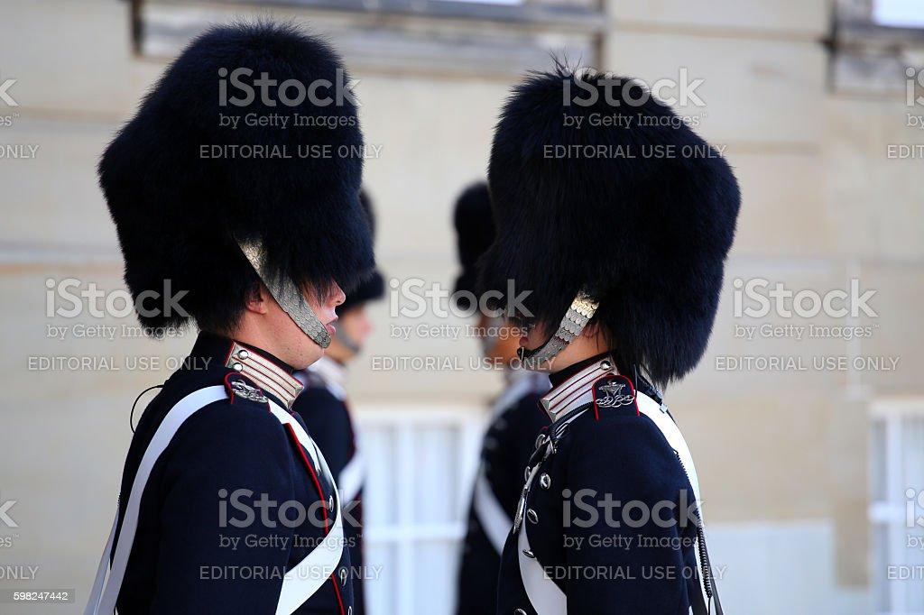 Danish Royal Life Guards on the Amalienborg, Copenhagen, Denmark stock photo