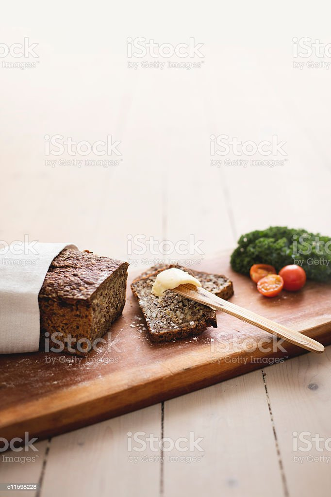Danish rye bread, with butter stock photo