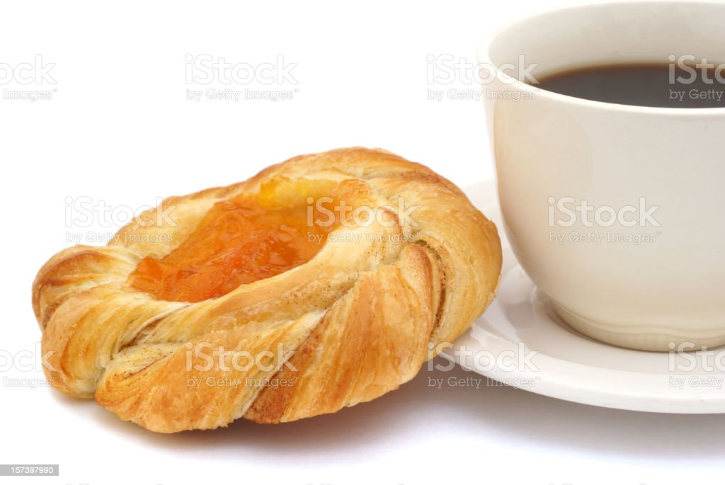 Danish sweet roll and coffee stock photo
