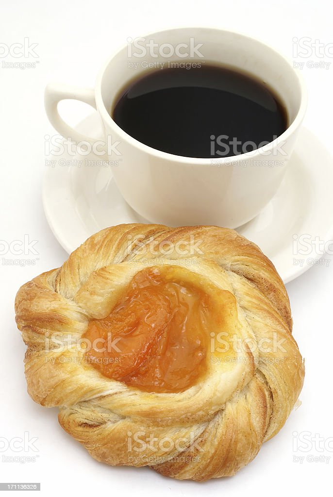 Danish sweet roll and coffee royalty-free stock photo