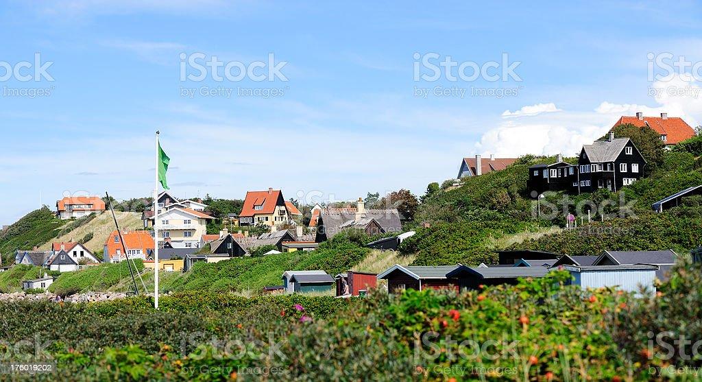 Danish village on beach royalty-free stock photo
