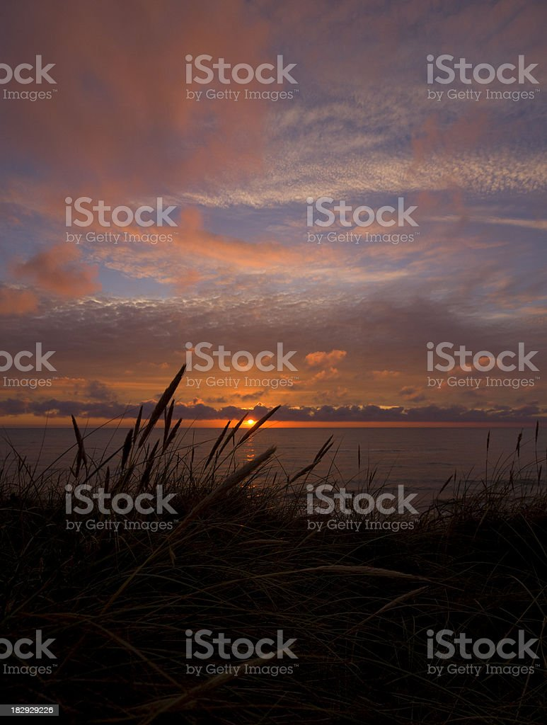 Danish west coast at sunset stock photo