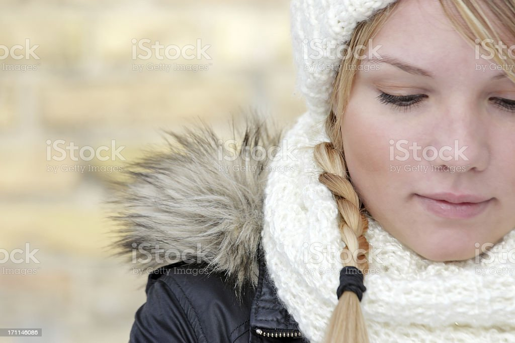Danish young woman looking down royalty-free stock photo