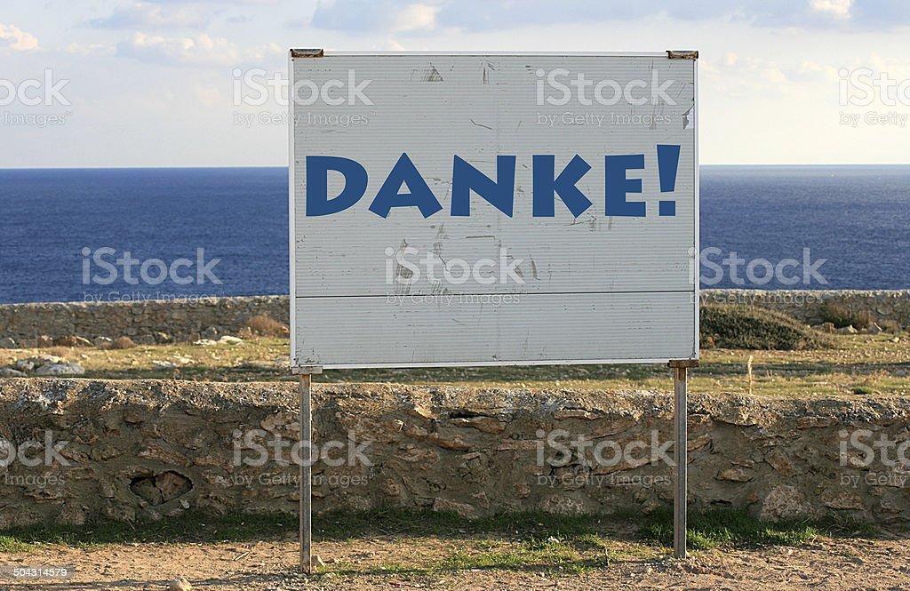 danke - thank you in german stock photo