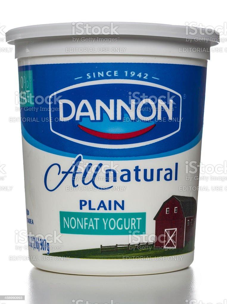 Dannon All Natural Plain Nonfat Yogurt jar stock photo