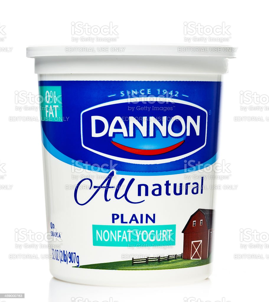 Dannon Plain Nonfat Yogurt stock photo