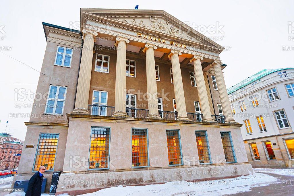 Danske bank in winter Copenhagen stock photo