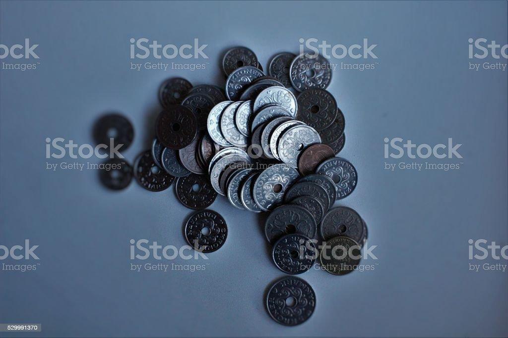 Danske mønter øre og kroner stock photo