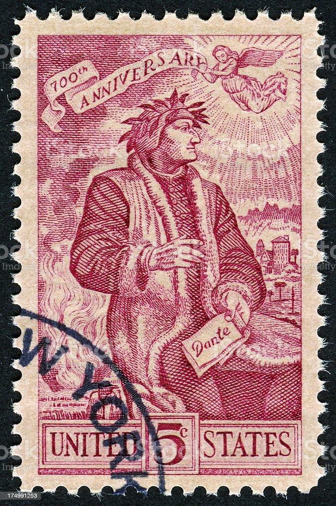 Dante Alighieri Stamp royalty-free stock photo