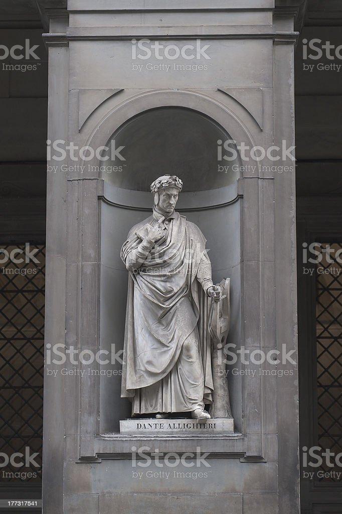 Dante Alighieri statue stock photo